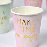Gold foil quote paper cups - 10 pieces - Socialness