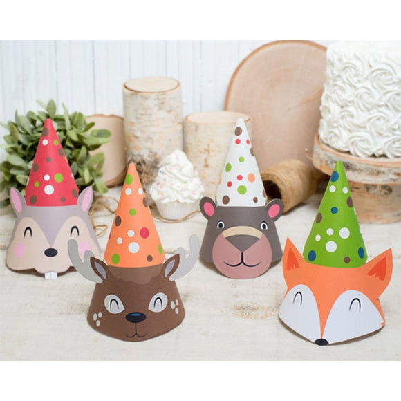 Jungle animal party hats - 8 pieces - Socialness