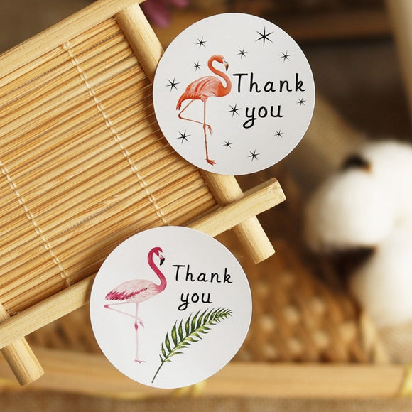 Flamingo thank you stickers - 60 pieces - Socialness