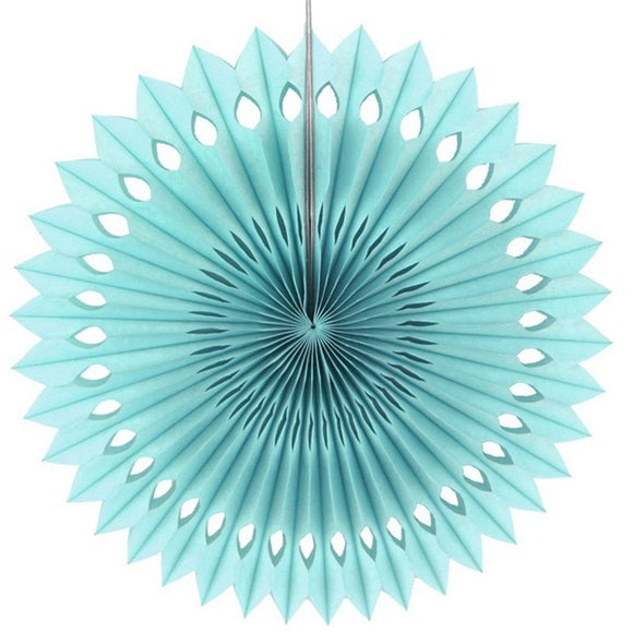 Paper fan pinwheels - 5 pieces - turquoise - Socialness
