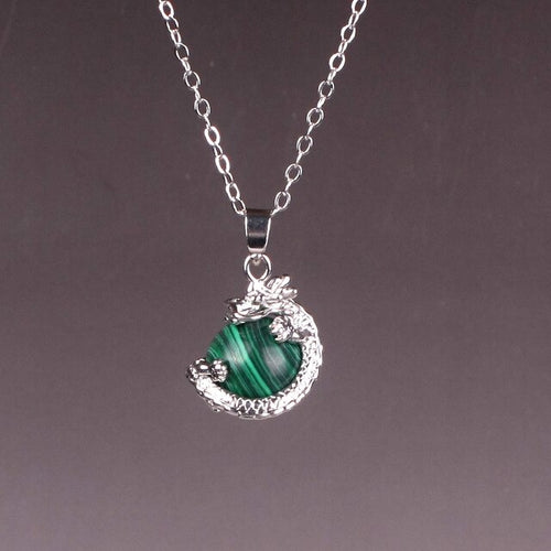 Collier Anti-douleur en Malachite et dragon