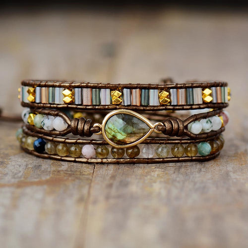 Bracelet Wrap 3 tours de Protection en Labradorite