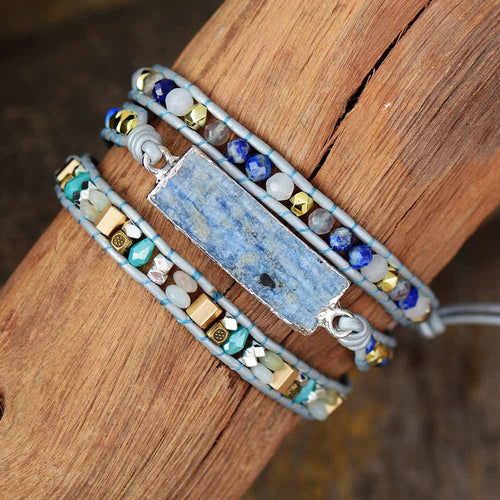 Bracelet Wrap 3 tours en Aigue Marine
