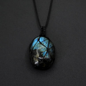 Collier anti Fatigue en Labradorite cœur de dragon