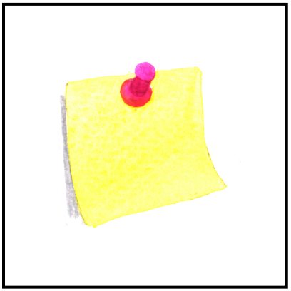Post it note with pink push pin