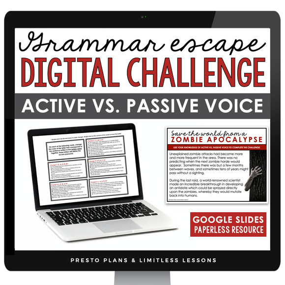 ACTIVE VS. PASSIVE VOICE GRAMMAR ACTIVITY DIGITAL GOOGLE ESCAPE CHALLENGE | DISTANCE LEARNING