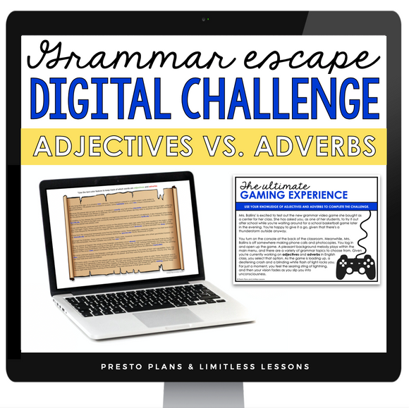 ADJECTIVES VS ADVERBS GRAMMAR ACTIVITY DIGITAL GOOGLE ESCAPE CHALLENGE | DISTANCE LEARNING