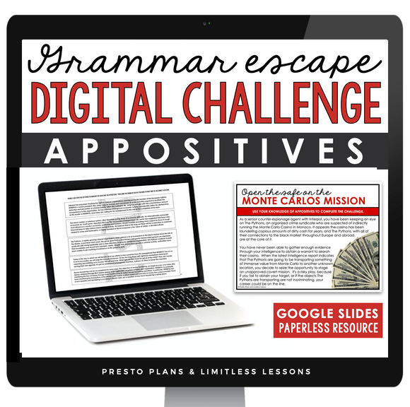 APPOSITIVES GRAMMAR ACTIVITY DIGITAL GOOGLE ESCAPE CHALLENGE | DISTANCE LEARNING