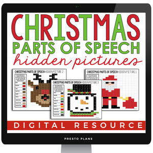 CHRISTMAS PARTS OF SPEECH: DIGITAL HIDDEN MYSTERY PICTURES | DISTANCE LEARNING