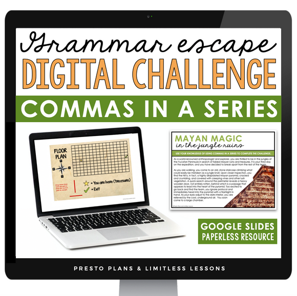 COMMAS IN A SERIES GRAMMAR ACTIVITY DIGITAL GOOGLE ESCAPE CHALLENGE | DISTANCE LEARNING