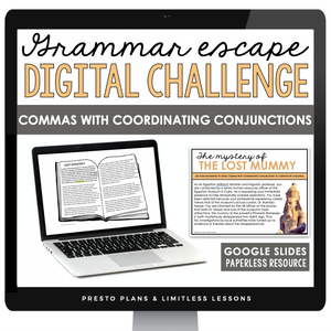 COMMAS WITH COORDINATING CONJUNCTIONS GRAMMAR ACTIVITY DIGITAL GOOGLE ESCAPE CHALLENGE | DISTANCE LEARNING