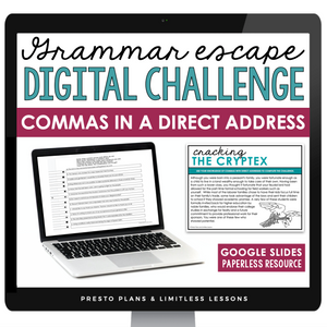 COMMAS WITH DIRECT ADDRESS GRAMMAR ACTIVITY DIGITAL GOOGLE ESCAPE CHALLENGE | DISTANCE LEARNING