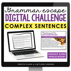COMPLEX SENTENCES GRAMMAR ACTIVITY DIGITAL GOOGLE ESCAPE CHALLENGE | DISTANCE LEARNING