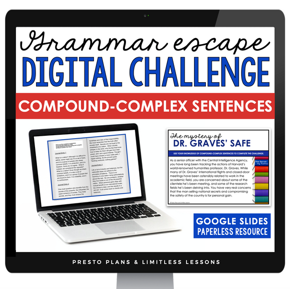 COMPOUND-COMPLEX SENTENCES GRAMMAR ACTIVITY DIGITAL GOOGLE ESCAPE CHALLENGE | DISTANCE LEARNING