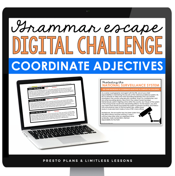 COORDINATE ADJECTIVES GRAMMAR ACTIVITY DIGITAL GOOGLE ESCAPE CHALLENGE | DISTANCE LEARNING
