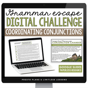 COORDINATING CONJUNCTIONS GRAMMAR ACTIVITY DIGITAL GOOGLE ESCAPE CHALLENGE | DISTANCE LEARNING