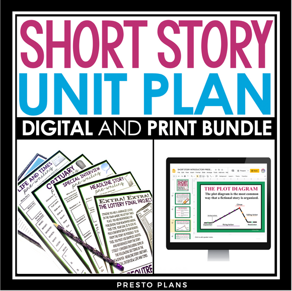 SHORT STORY UNIT PLAN DIGITAL PRINT BUNDLE | DISTANCE LEARNING