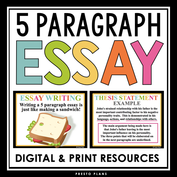 5 PARAGRAPH ESSAY PRESENTATION & ESSAY OUTLINE | DIGITAL AND PRINT
