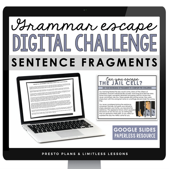 FRAGMENTS GRAMMAR ACTIVITY DIGITAL GOOGLE ESCAPE CHALLENGE | DISTANCE LEARNING