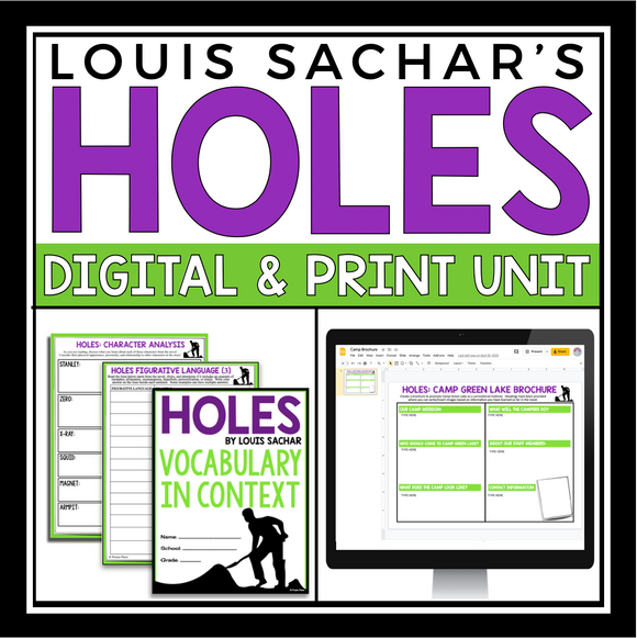 HOLES UNIT PLAN DIGITAL & PRINT BUNDLE | DISTANCE LEARNING
