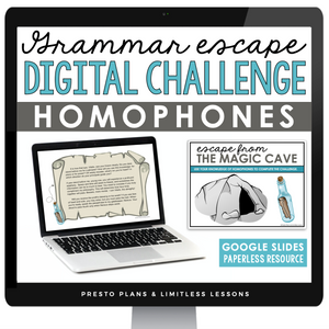 HOMOPHONES GRAMMAR ACTIVITY DIGITAL GOOGLE ESCAPE CHALLENGE | DISTANCE LEARNING