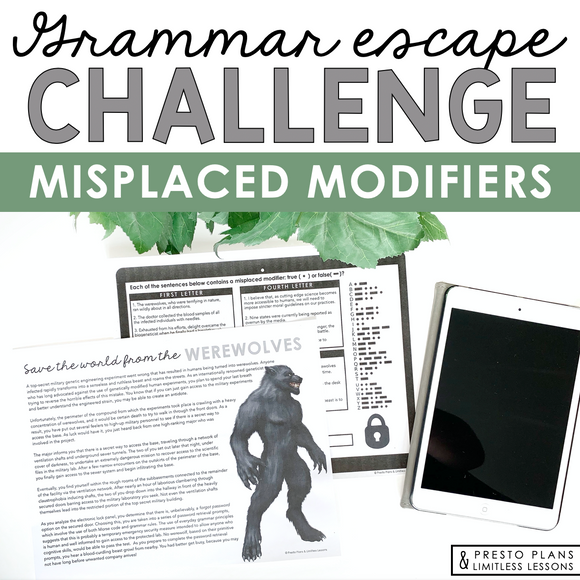 MISPLACED MODIFIERS GRAMMAR ACTIVITY INTERACTIVE ESCAPE CHALLENGE