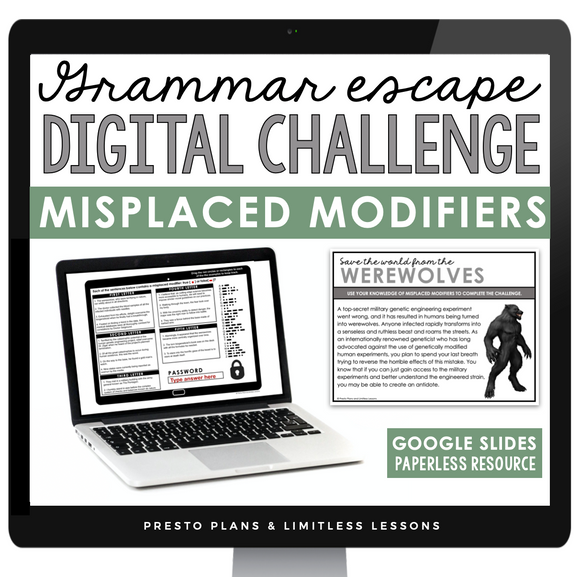 MISPLACED MODIFIERS GRAMMAR ACTIVITY DIGITAL GOOGLE ESCAPE CHALLENGE | DISTANCE LEARNING