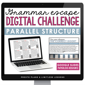 PARALLEL STRUCTURE GRAMMAR ACTIVITY DIGITAL GOOGLE ESCAPE CHALLENGE | DISTANCE LEARNING