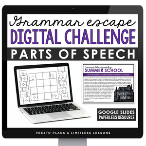 PARTS OF SPEECH GRAMMAR ACTIVITY DIGITAL GOOGLE ESCAPE CHALLENGE | DISTANCE LEARNING