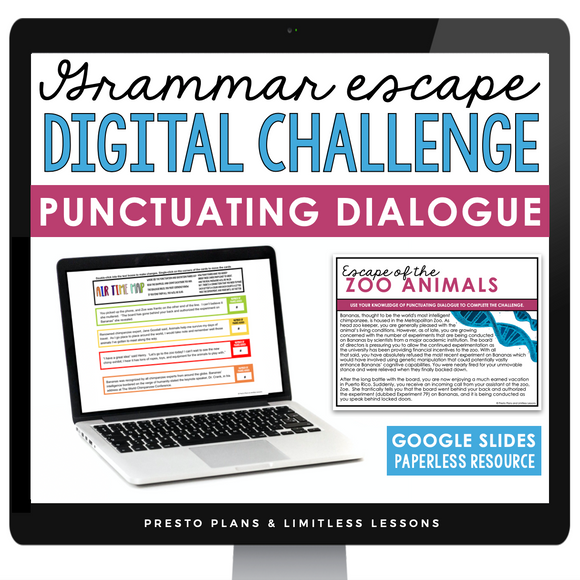 PUNCTUATING DIALOGUE GRAMMAR ACTIVITY DIGITAL GOOGLE ESCAPE CHALLENGE | DISTANCE LEARNING