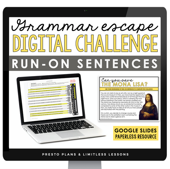 RUN-ON SENTENCES GRAMMAR ACTIVITY DIGITAL GOOGLE ESCAPE CHALLENGE | DISTANCE LEARNING
