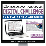 SUBJECT VERB AGREEMENT GRAMMAR ACTIVITY DIGITAL GOOGLE ESCAPE CHALLENGE | DISTANCE LEARNING
