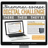 HOMOPHONES THERE, THEIR, THEY'RE GRAMMAR ACTIVITY DIGITAL GOOGLE ESCAPE CHALLENGE | DISTANCE LEARNING