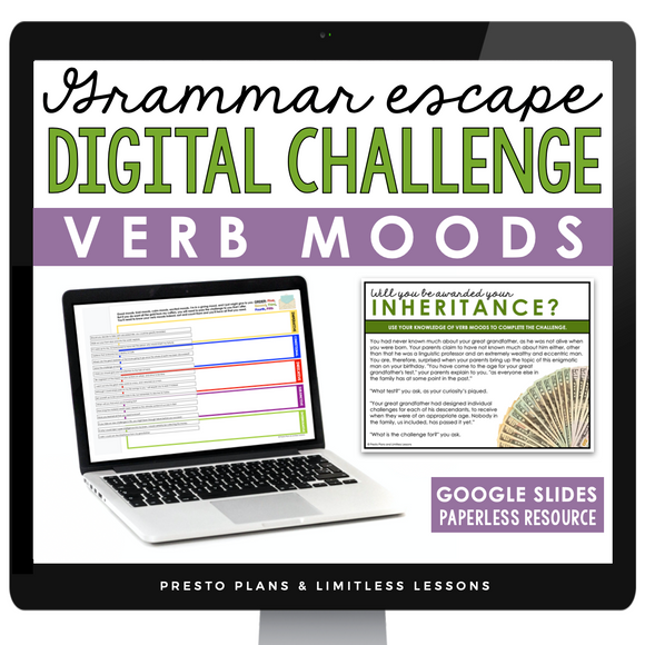 VERB MOODS GRAMMAR ACTIVITY DIGITAL GOOGLE ESCAPE CHALLENGE | DISTANCE LEARNING