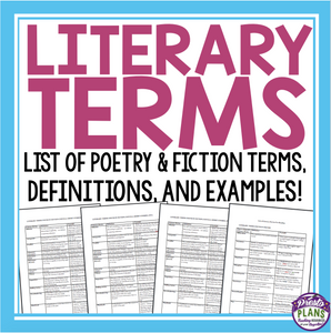 LITERARY TERMS LIST: POETRY & FICTION