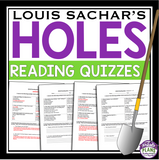 HOLES READING COMPREHENSION QUIZZES