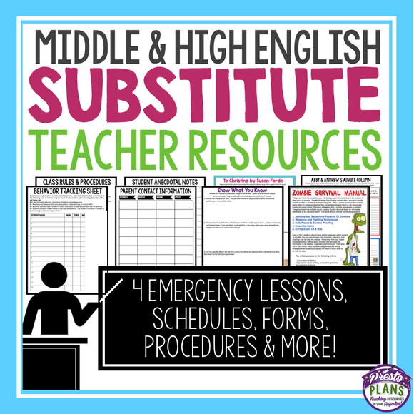 SUBSTITUTE ENGLISH TEACHER PLANS & BINDER