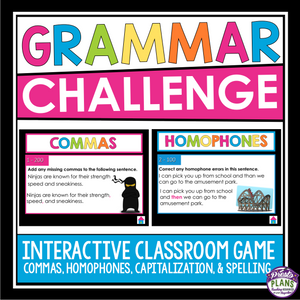 GRAMMAR GAME: HOMOPHONES, SPELLING, COMMAS, AND CAPITALIZATION