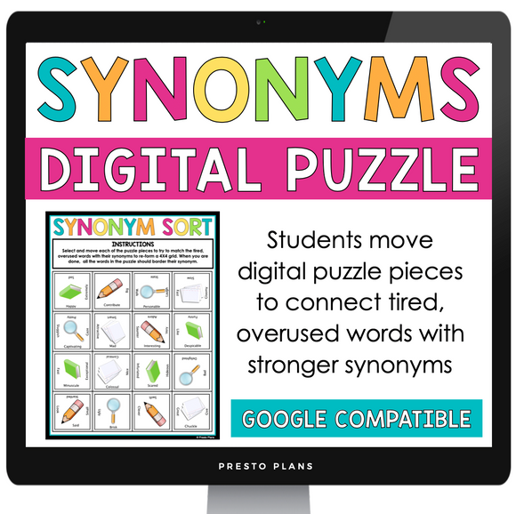 DIGITAL SYNONYM WORD CHOICE ACTIVITY PUZZLE GOOGLE | DISTANCE LEARNING