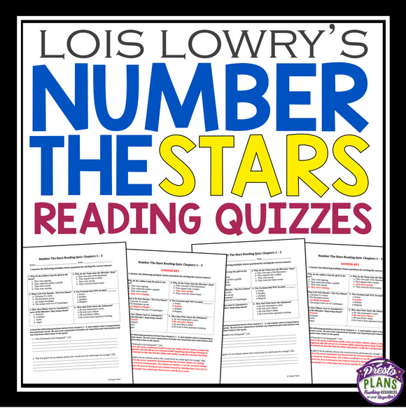 NUMBER THE STARS READING QUIZZES