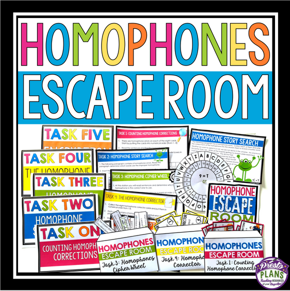 HOMOPHONES ESCAPE ROOM ACTIVITY