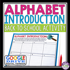 BACK TO SCHOOL DIGITAL ACTIVITY: ALPHABET INTRODUCTION FOR GOOGLE DRIVE