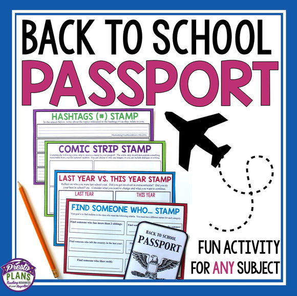 BACK TO SCHOOL ACTIVITY: PASSPORT
