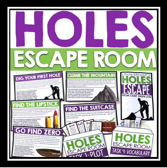 HOLES ESCAPE ROOM NOVEL ACTIVITY