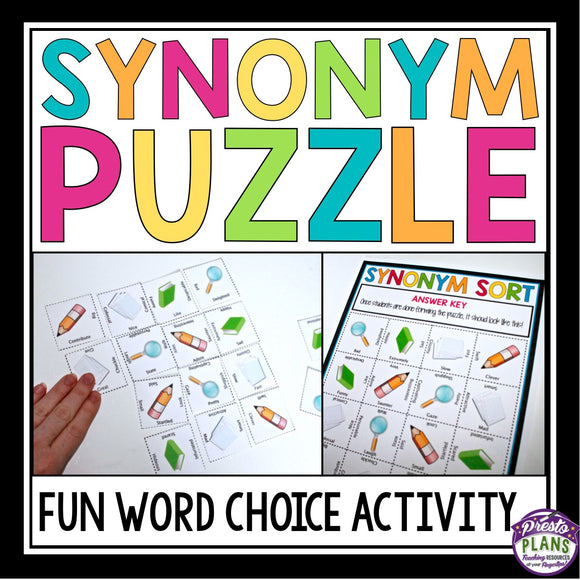 SYNONYM WORD CHOICE ACTIVITY PUZZLE