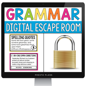 DIGITAL GRAMMAR ESCAPE ROOM ACTIVITY | GOOGLE