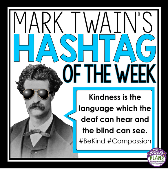 MARK TWAIN POSTERS AND ACTIVITY: HASHTAG QUOTES