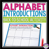 BACK TO SCHOOL ACTIVITY: ALPHABET INTRODUCTION ICEBREAKER
