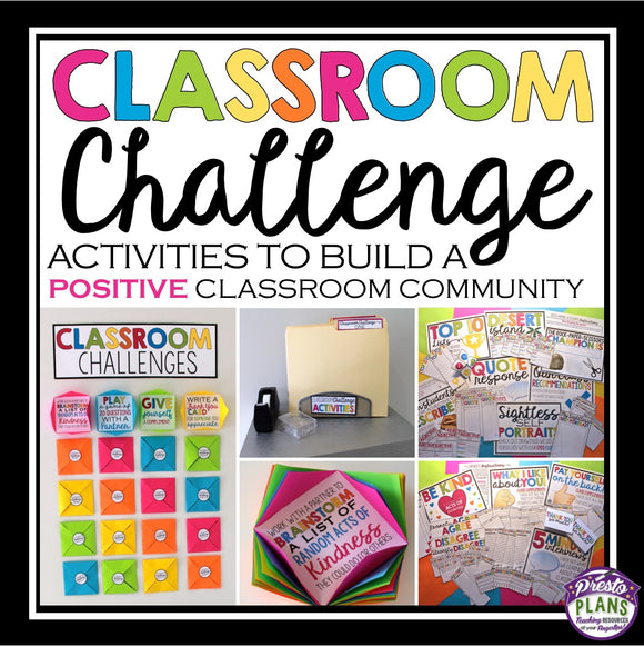 BACK TO SCHOOL ACTIVITIES: CLASSROOM CHALLENGE ACTIVITIES & BULLETIN BOARD