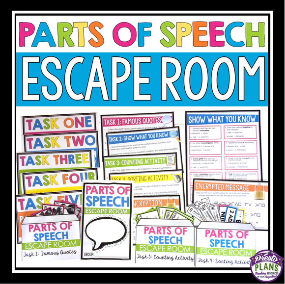 PARTS OF SPEECH ESCAPE ROOM ACTIVITY